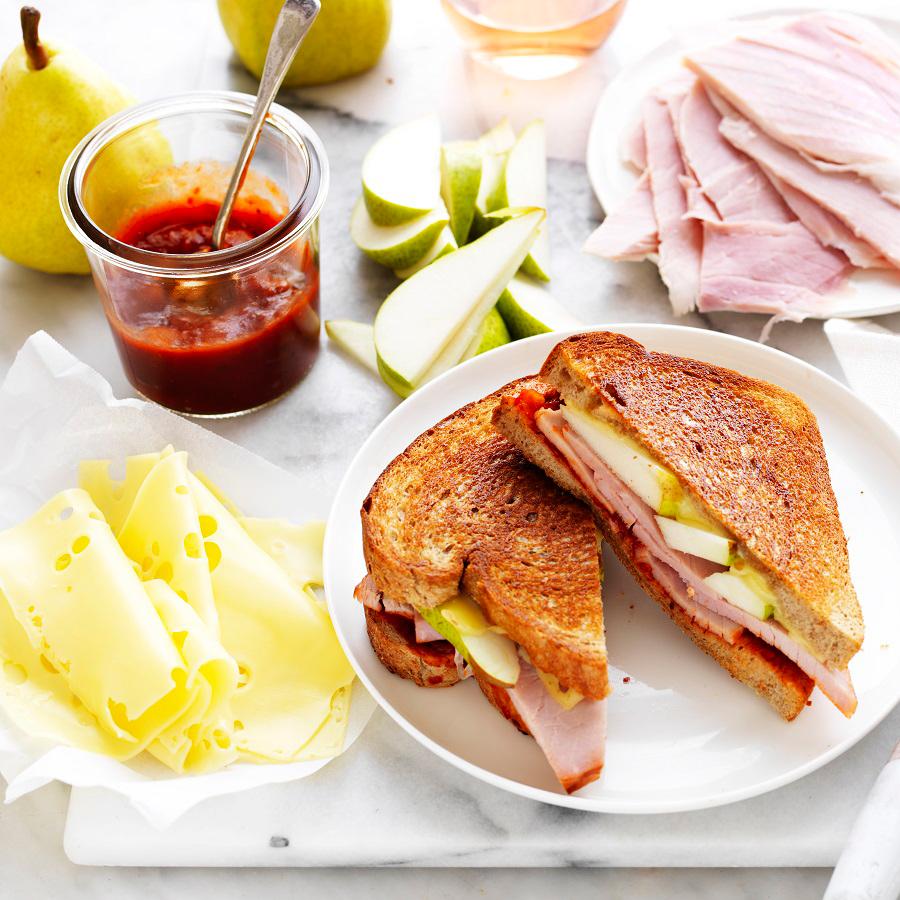 Chutney, leg ham, pear and Swiss cheese toasties