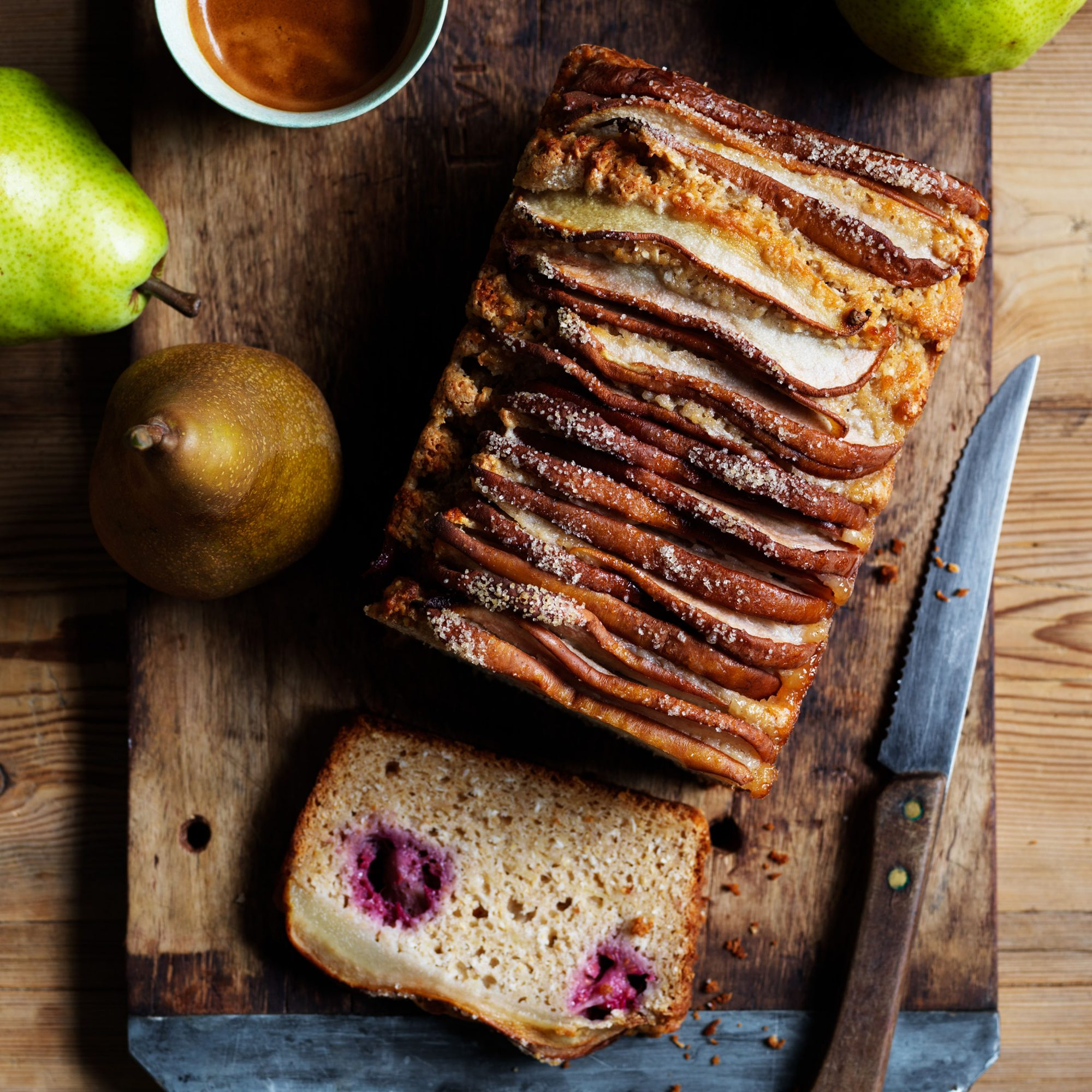 Pear raspberry coconut loaf
