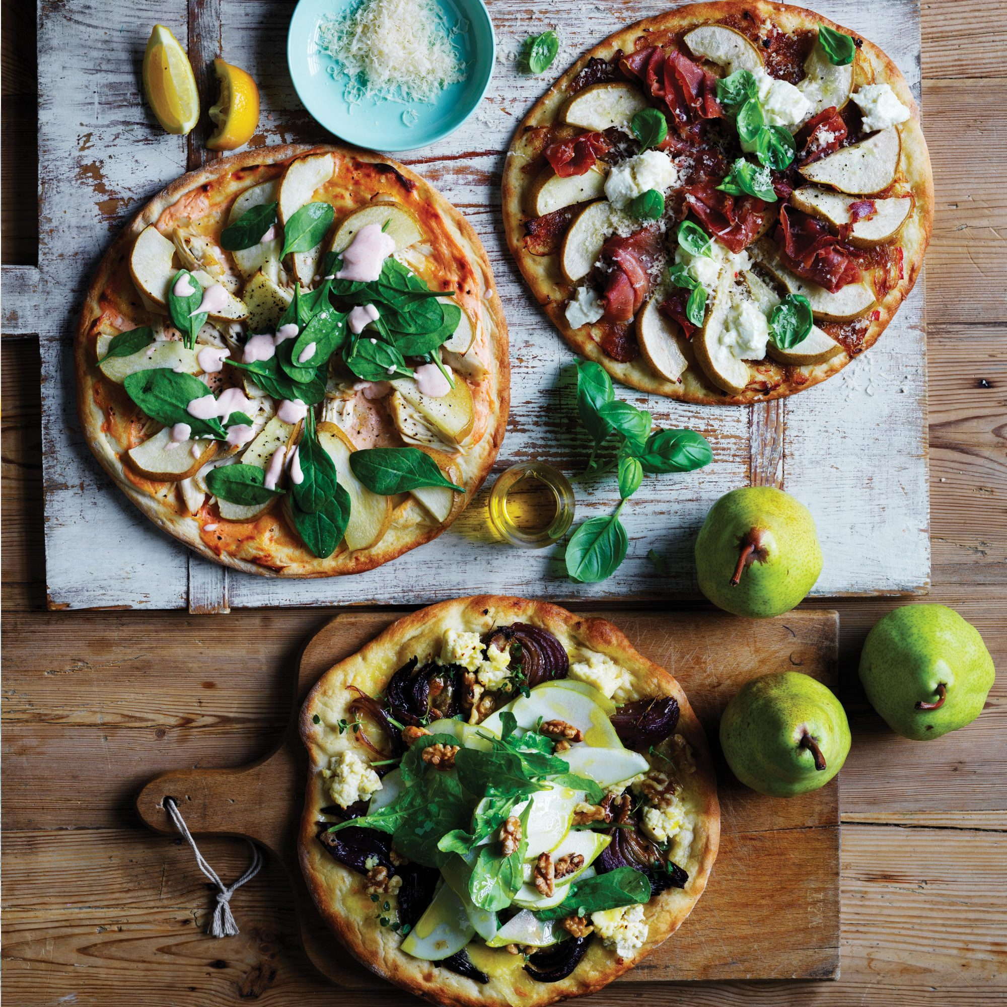 Pear Pizza Three Ways