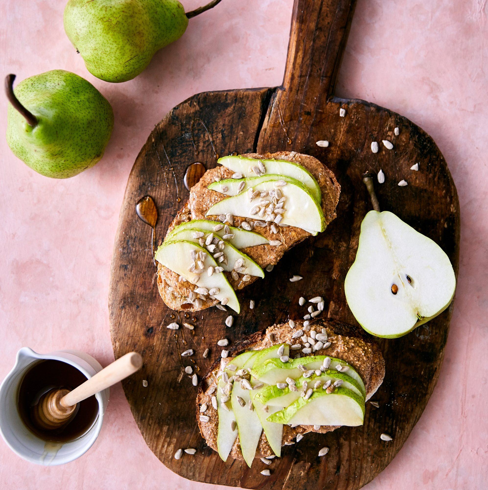 Pears nut butternut toast
